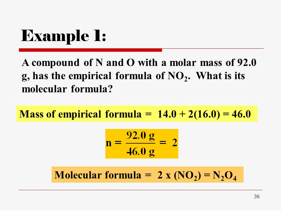 Example 1: A compound of N and O with a molar mass of 92.0 g, has the empirical formula of NO2. What is its molecular formula