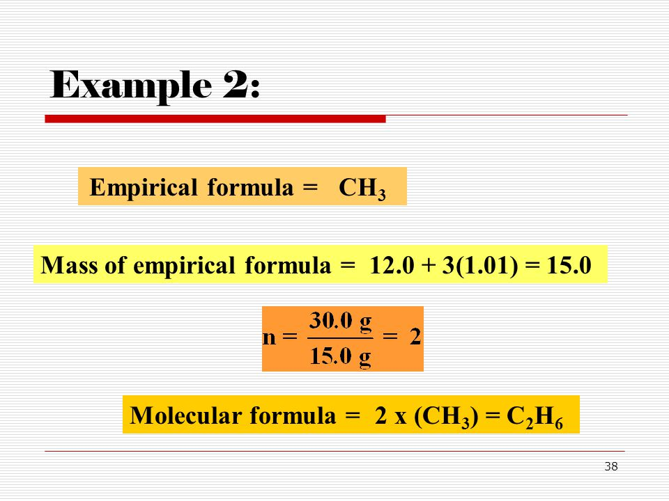 Example 2: Empirical formula = CH3 Mass of empirical formula =