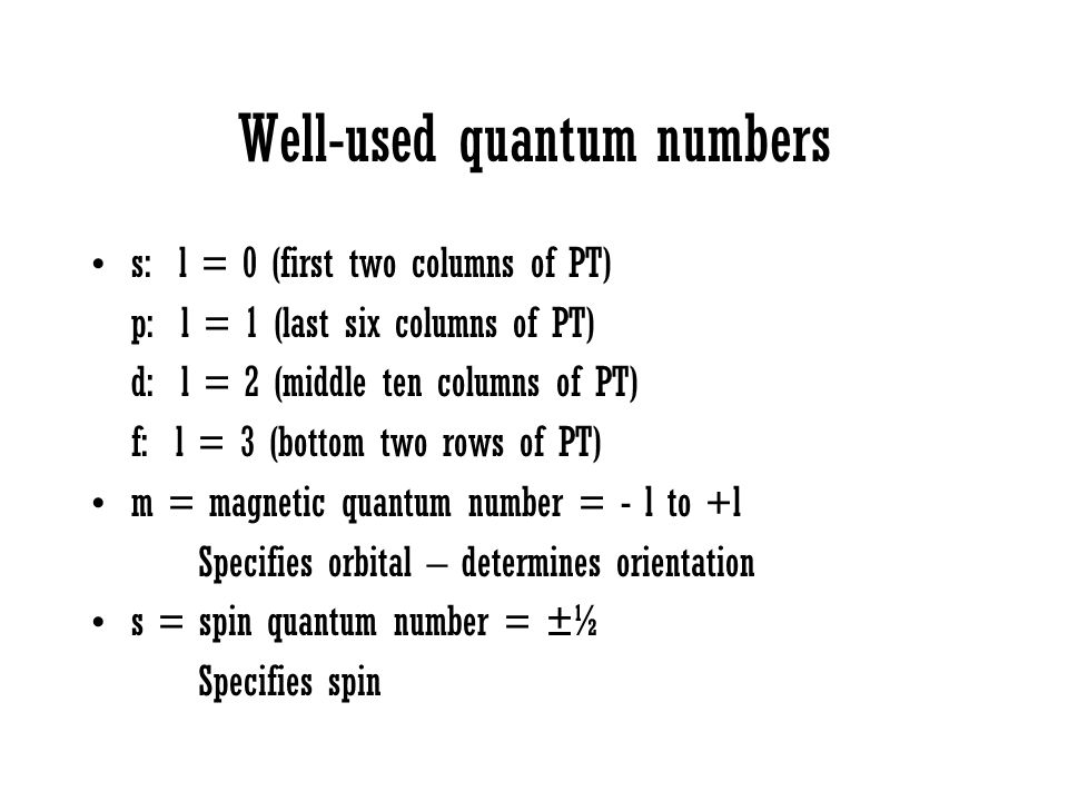 Well-used quantum numbers