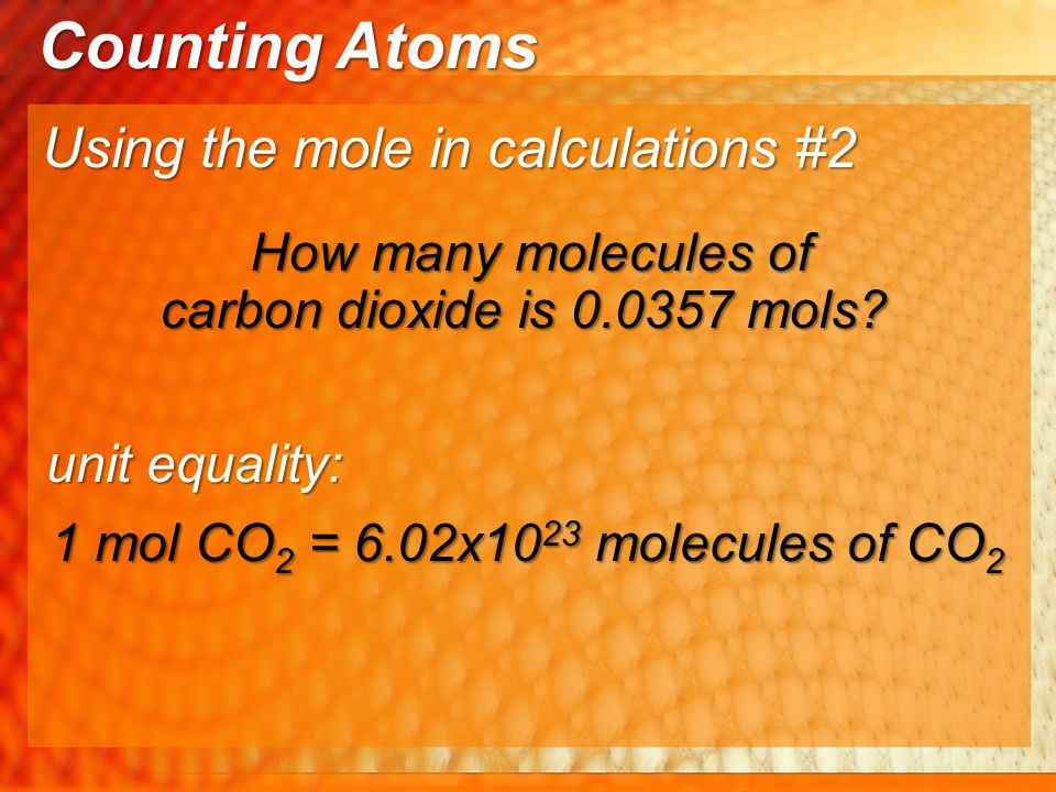 Counting Atoms Using the mole in calculations #2