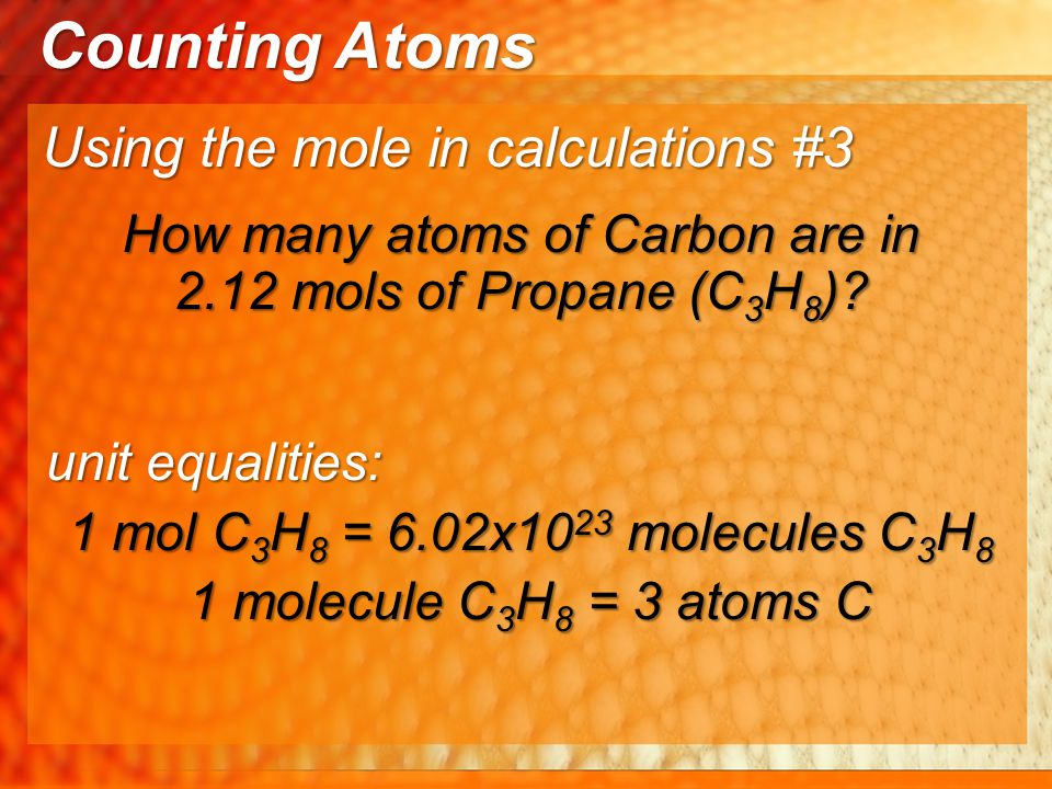 How many atoms of Carbon are in 2.12 mols of Propane (C3H8)