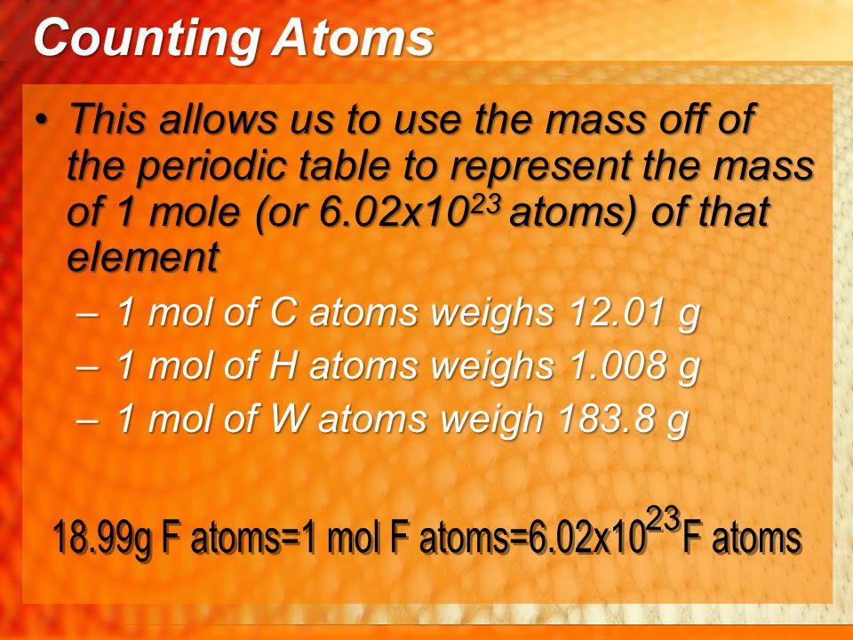 18.99g F atoms=1 mol F atoms=6.02x10 F atoms