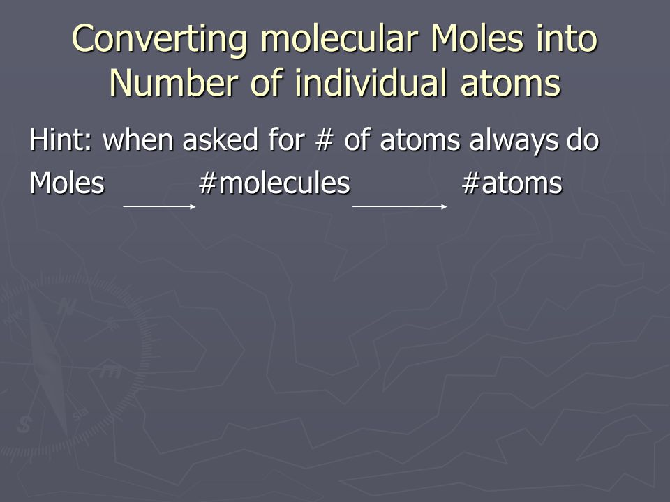 Converting molecular Moles into Number of individual atoms