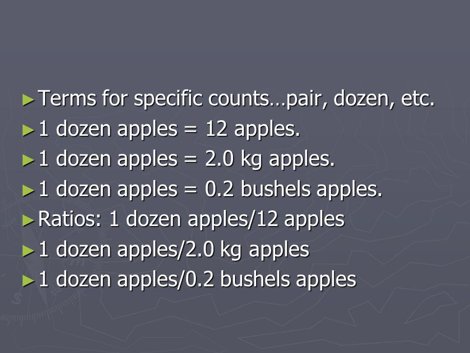 Terms for specific counts…pair, dozen, etc.