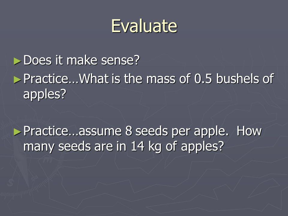 Evaluate Does it make sense