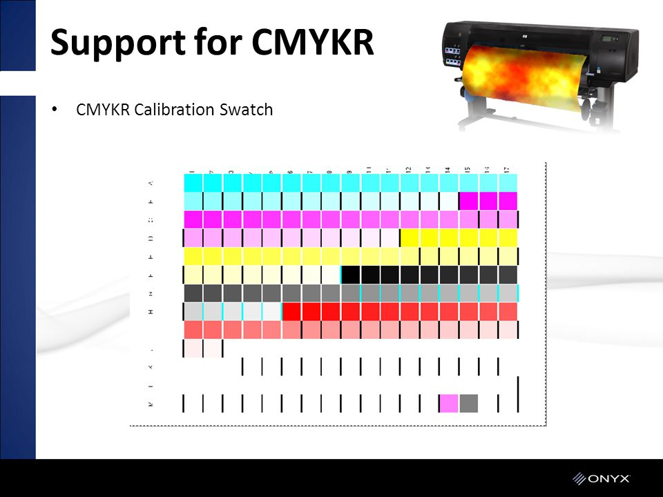 Support for CMYKR CMYKR Calibration Swatch