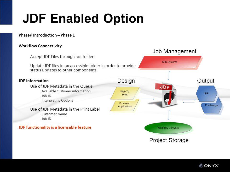 JDF Enabled Option JDF Enabled Option Job Management Design Output