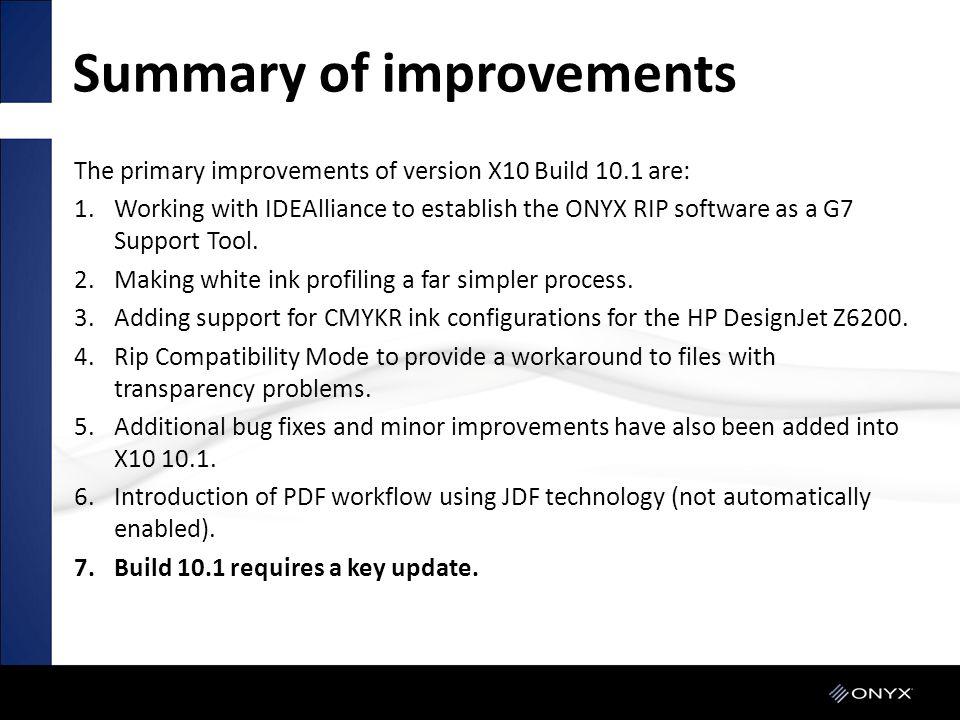 Summary of improvements