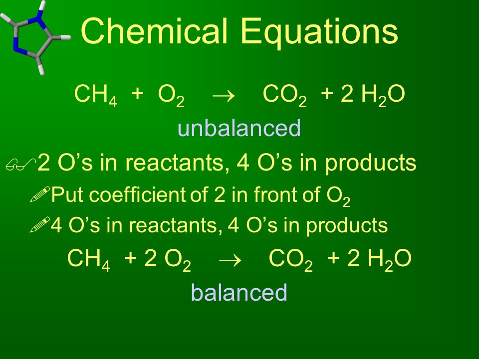 Chemical Equations CH4 + O2  CO2 + 2 H2O unbalanced