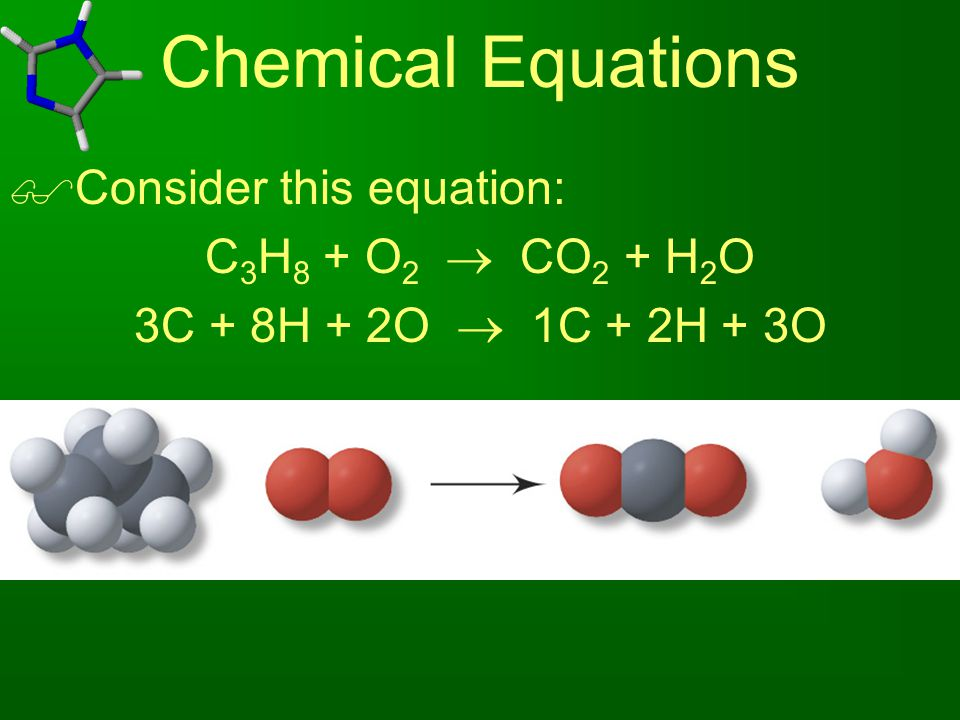 Chemical Equations Consider this equation: C3H8 + O2  CO2 + H2O