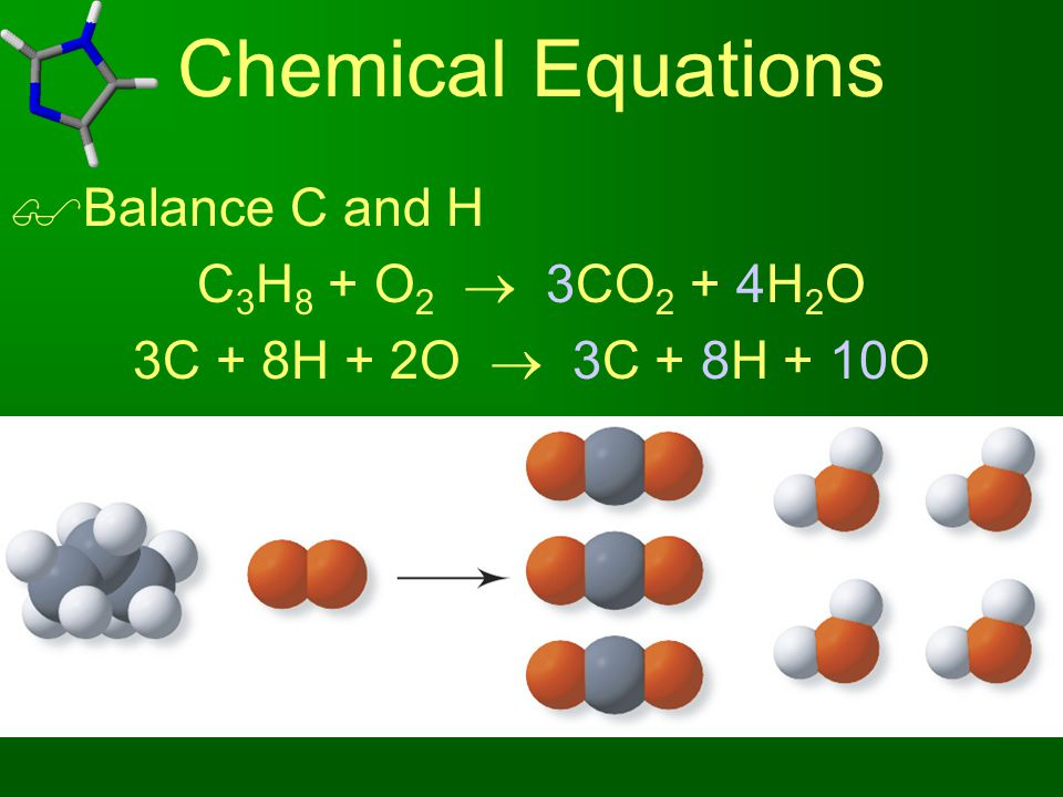 Chemical Equations Balance C and H C3H8 + O2  3CO2 + 4H2O