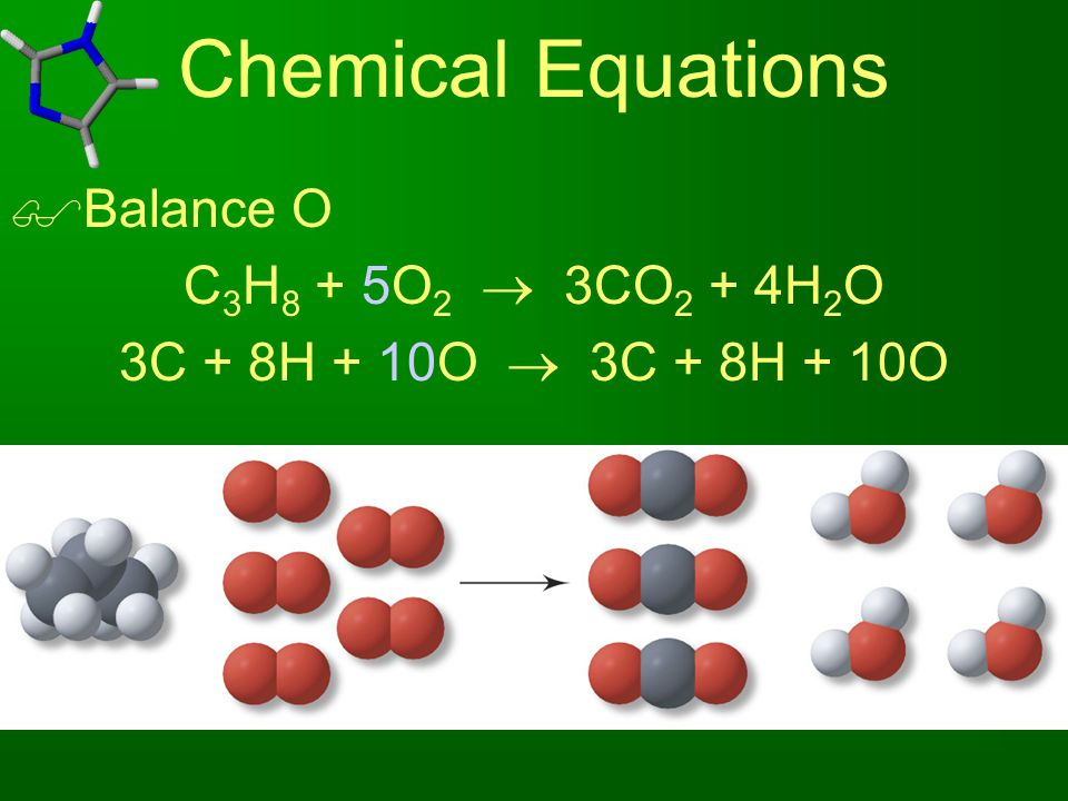Chemical Equations Balance O C3H8 + 5O2  3CO2 + 4H2O