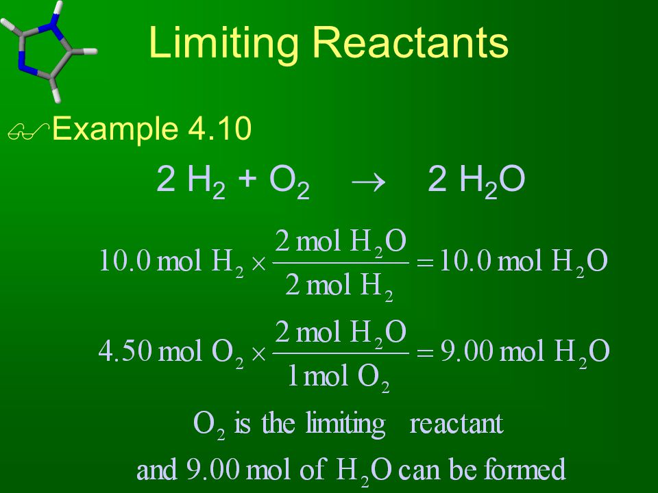 Limiting Reactants Example 4.10 2 H2 + O2  2 H2O