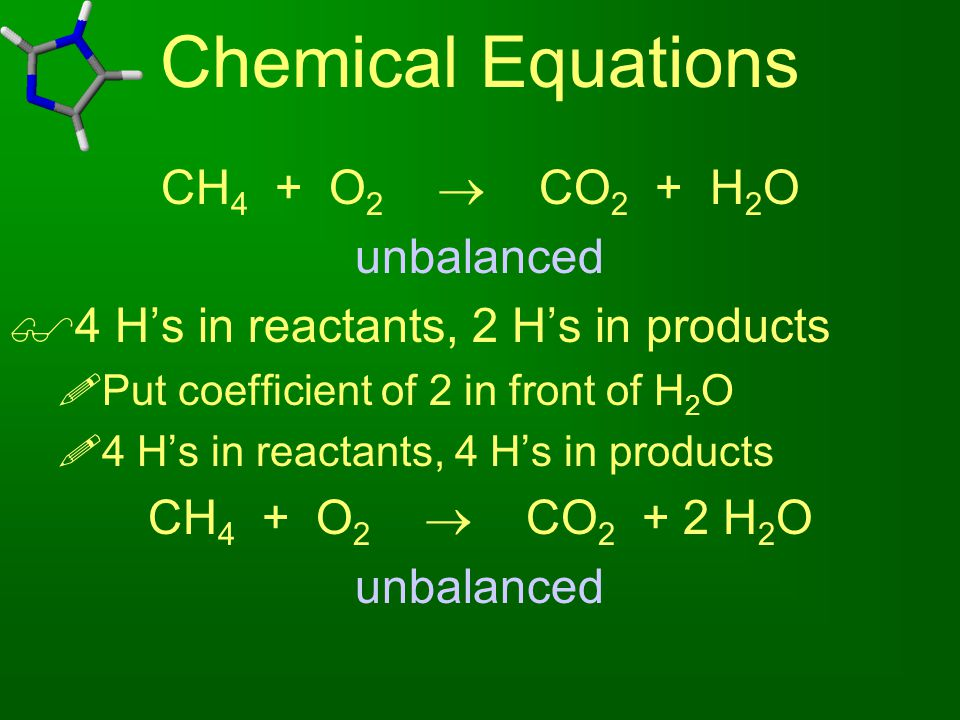Chemical Equations CH4 + O2  CO2 + H2O unbalanced