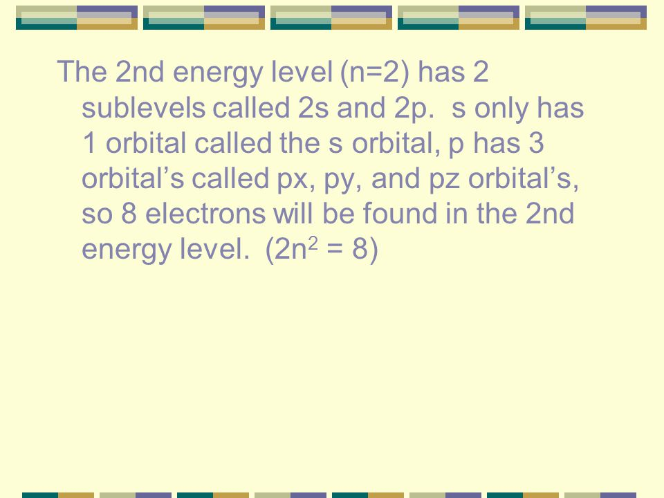 The 2nd energy level (n=2) has 2 sublevels called 2s and 2p