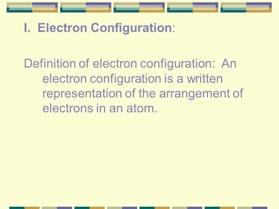 I. Electron Configuration: