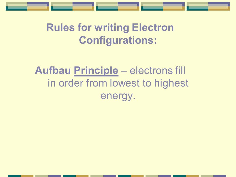 Rules for writing Electron Configurations: