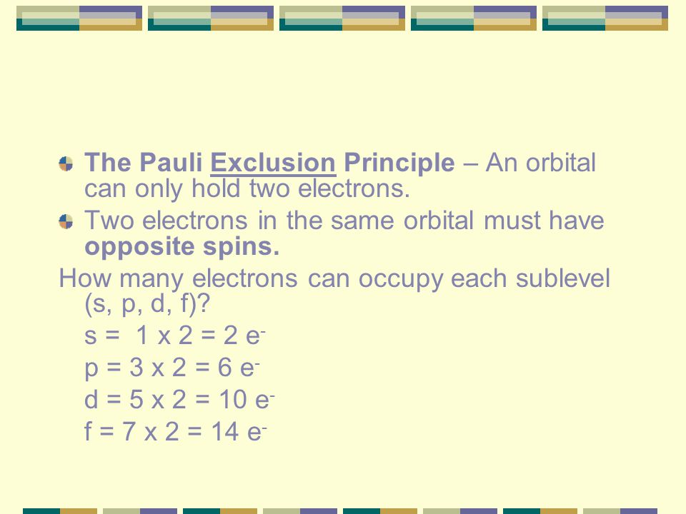 The Pauli Exclusion Principle – An orbital can only hold two electrons.