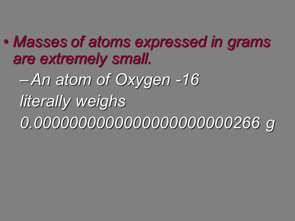 An atom of Oxygen -16 literally weighs 0.0000000000000000000000266 g