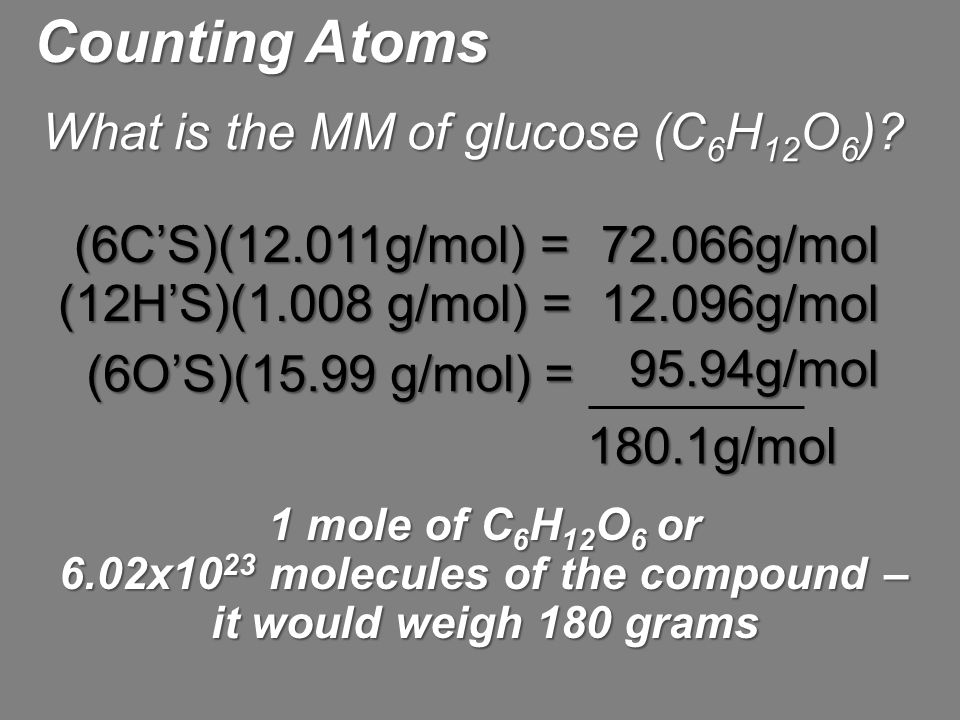 6.02x1023 molecules of the compound – it would weigh 180 grams