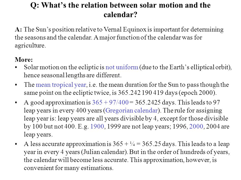 Q: What's the relation between solar motion and the calendar