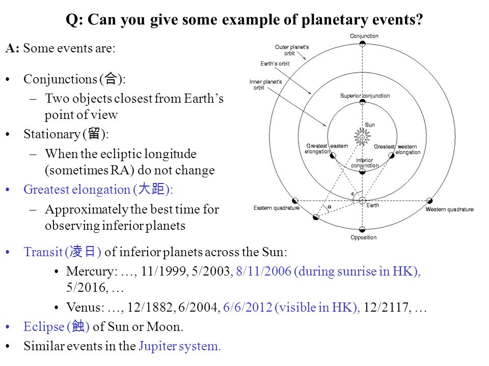 Q: Can you give some example of planetary events
