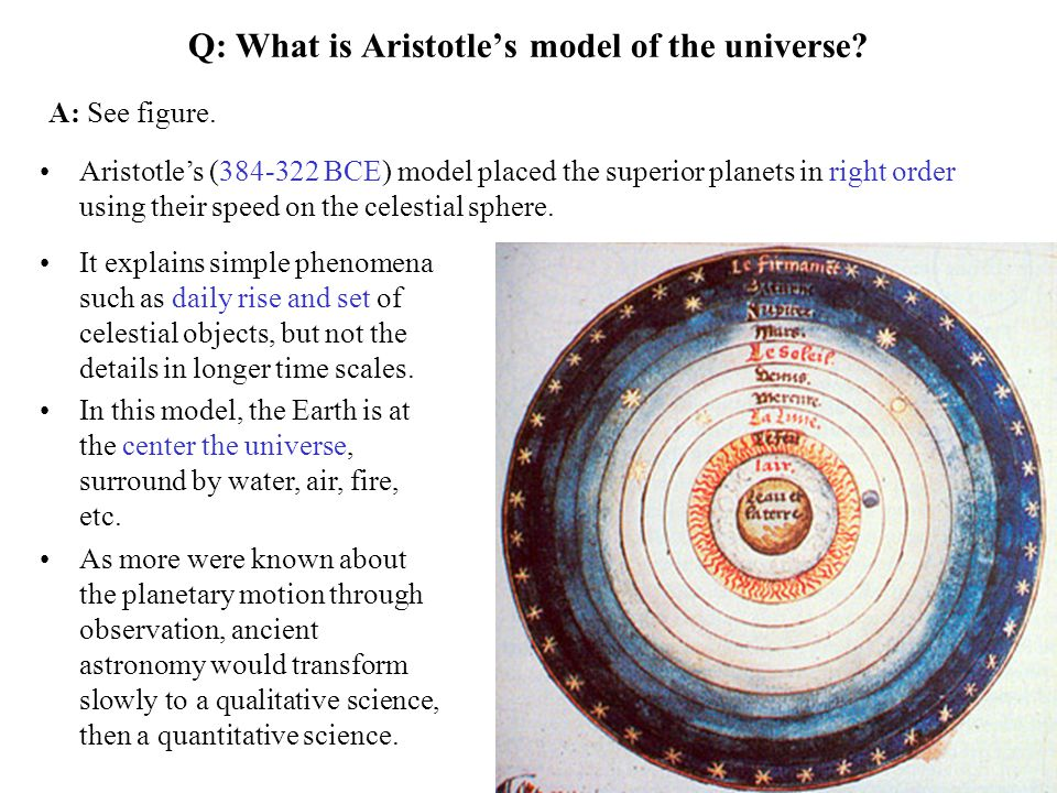 Q: What is Aristotle's model of the universe