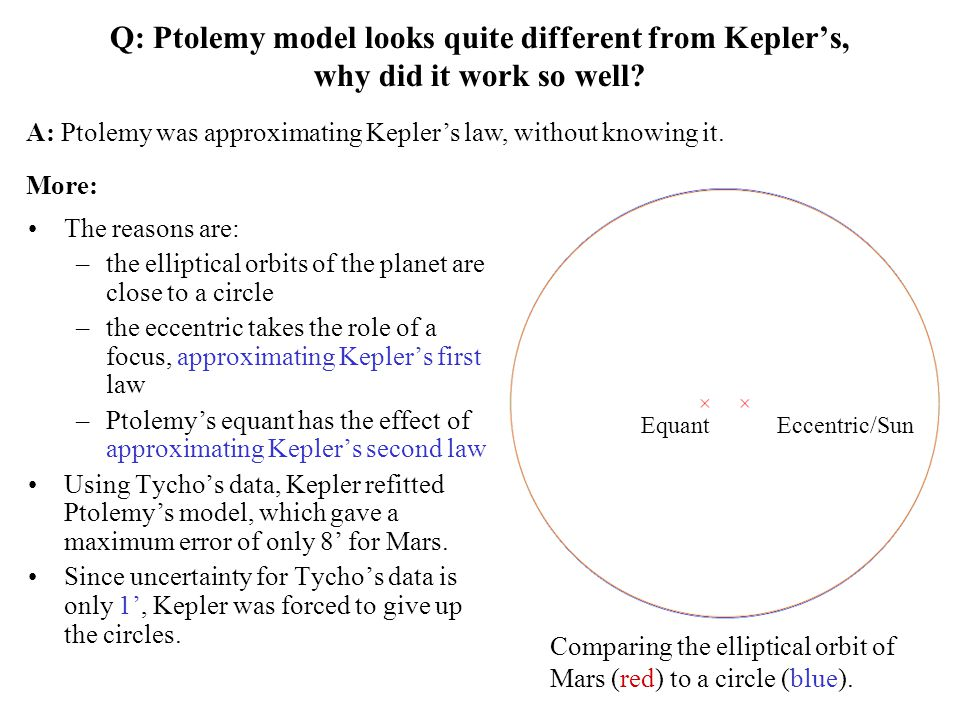 Q: Ptolemy model looks quite different from Kepler's, why did it work so well