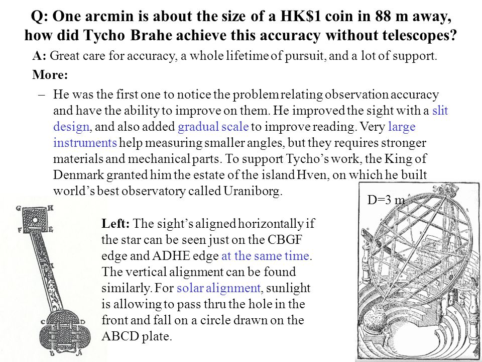 Q: One arcmin is about the size of a HK$1 coin in 88 m away, how did Tycho Brahe achieve this accuracy without telescopes