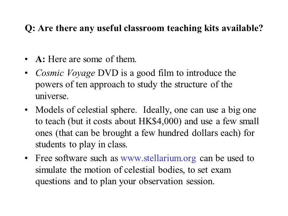 Q: Are there any useful classroom teaching kits available