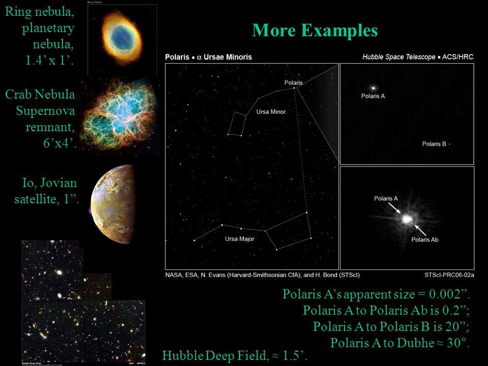 More Examples Ring nebula, planetary nebula, 1.4' x 1'. Crab Nebula