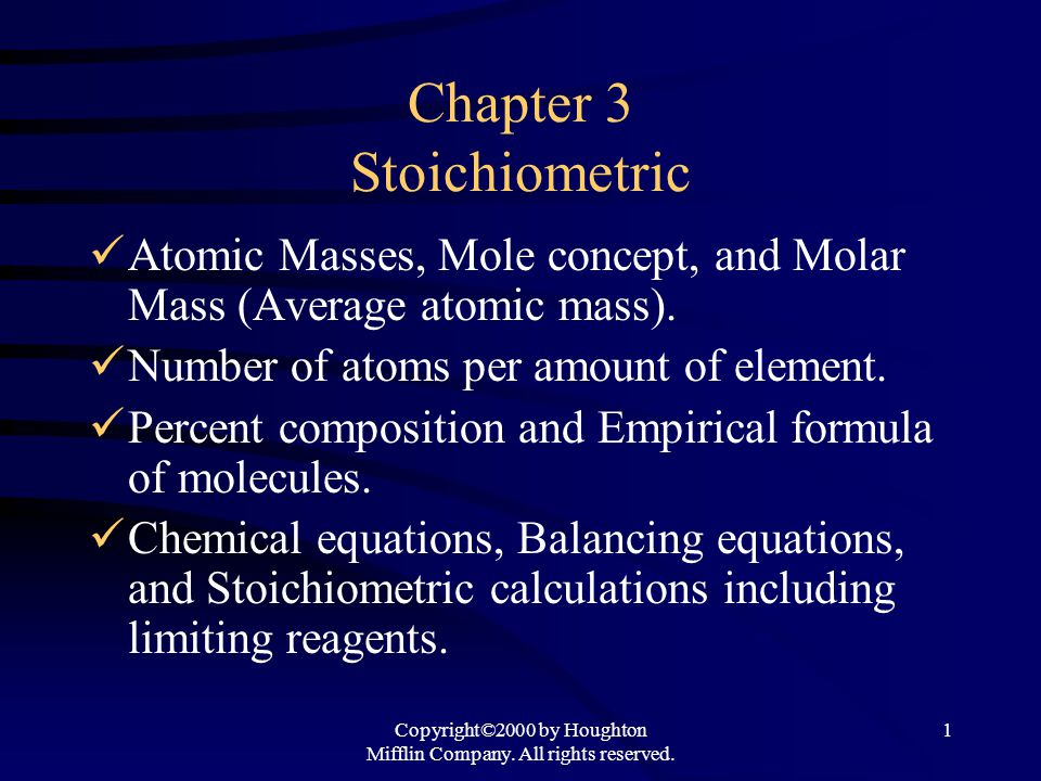 Chapter 3 Stoichiometric