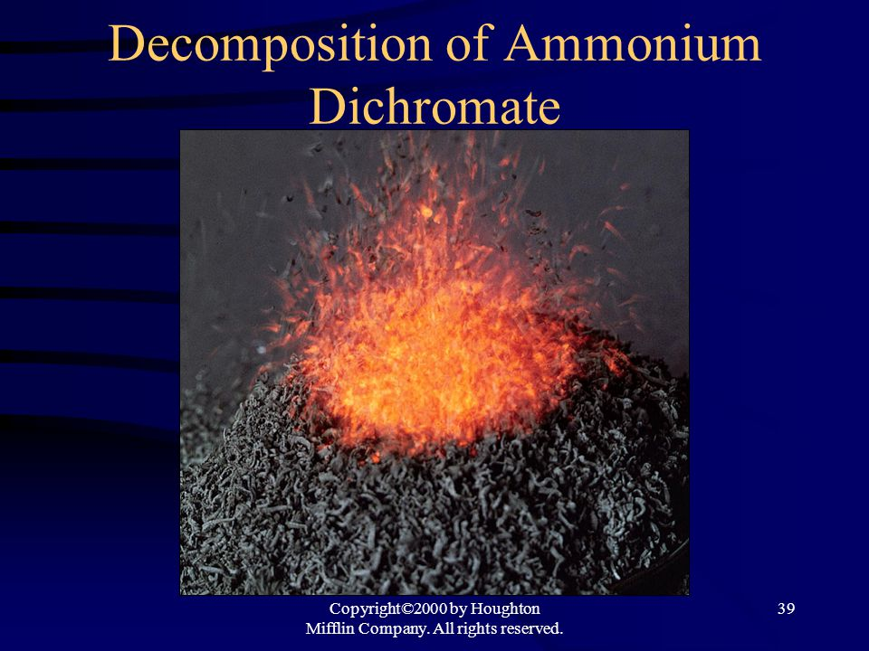 Decomposition of Ammonium Dichromate