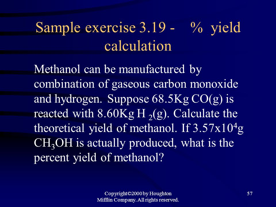 Sample exercise 3.19 - % yield calculation