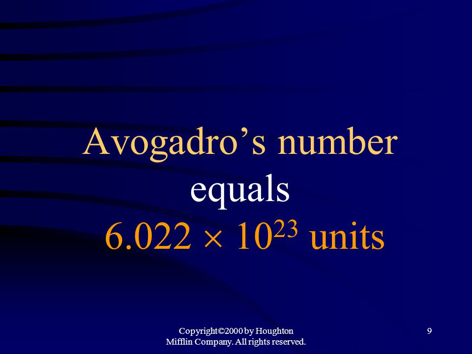 Avogadro's number equals 6.022  1023 units