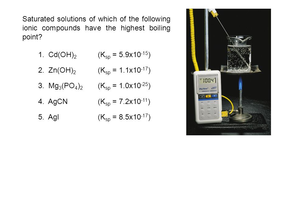 Saturated solutions of which of the following ionic compounds have the highest boiling point