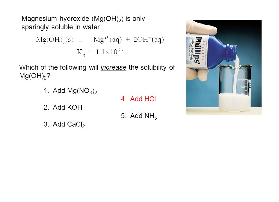 Magnesium hydroxide (Mg(OH)2) is only sparingly soluble in water.