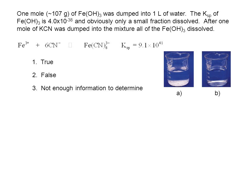 One mole (~107 g) of Fe(OH)3 was dumped into 1 L of water