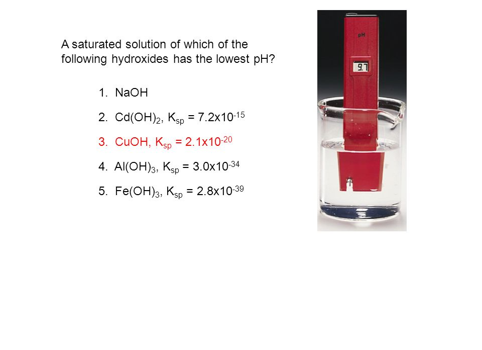 A saturated solution of which of the following hydroxides has the lowest pH