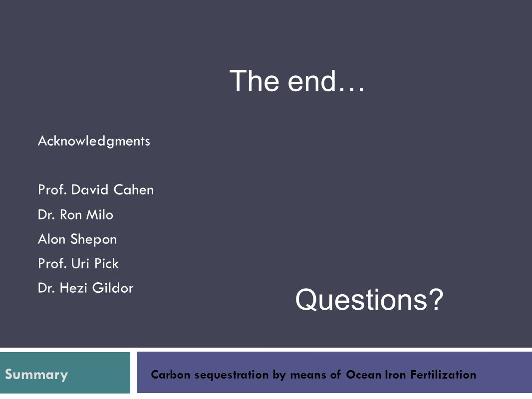 The end… Questions Acknowledgments Prof. David Cahen Dr. Ron Milo