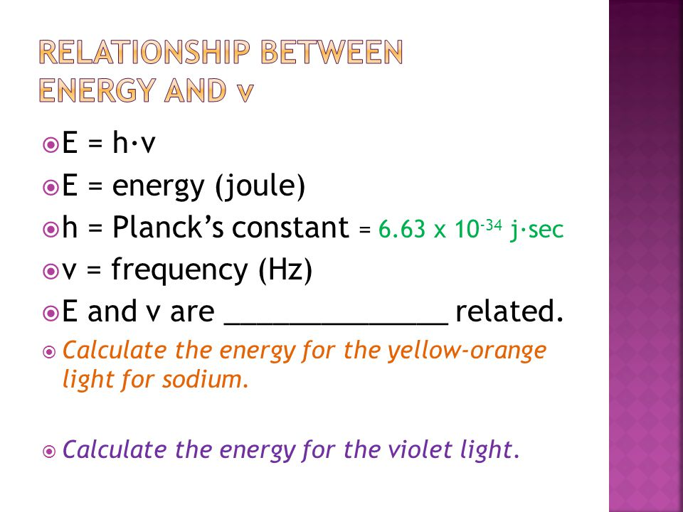 Relationship between Energy and ν