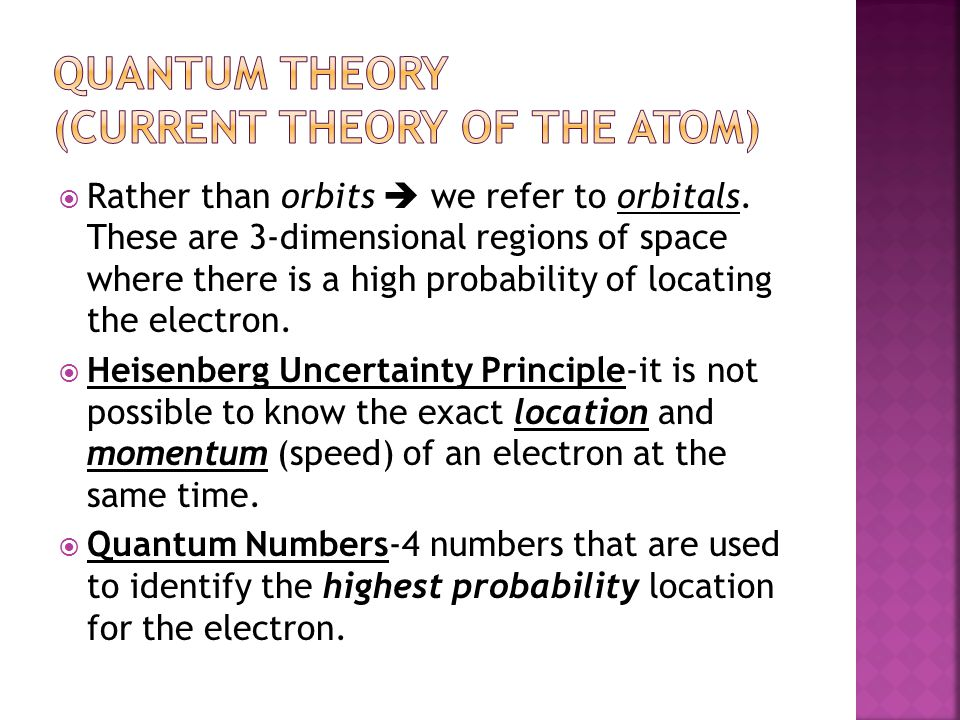 Quantum Theory (current theory of the atom)