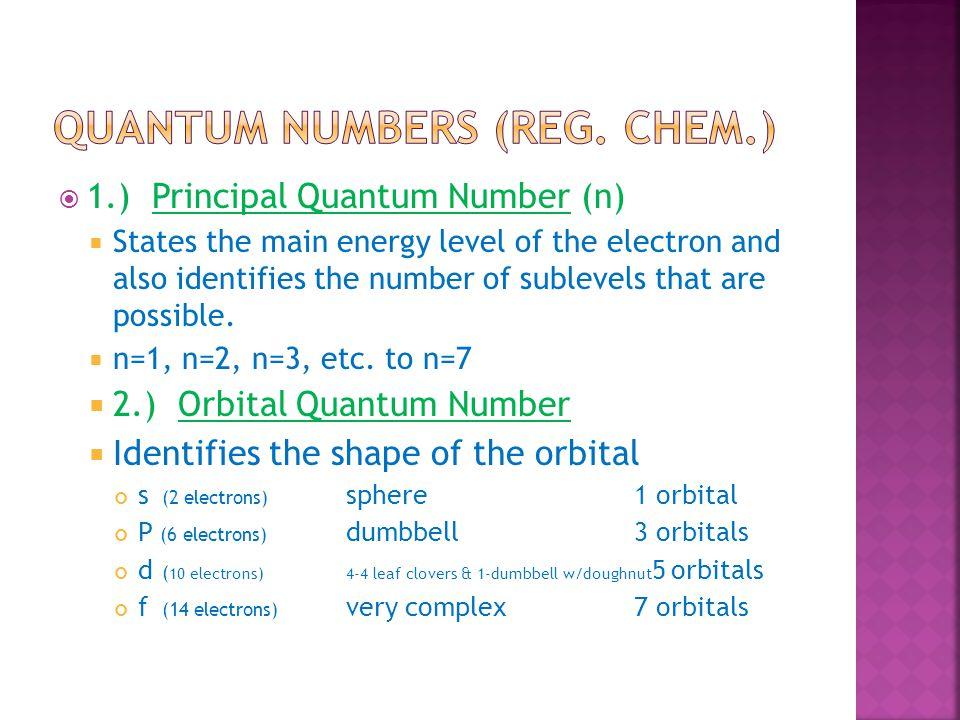 Quantum numbers (reg. chem.)