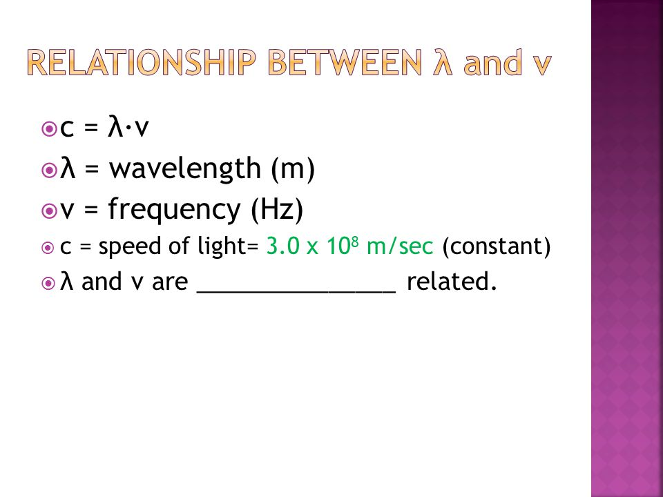 Relationship between λ and ν