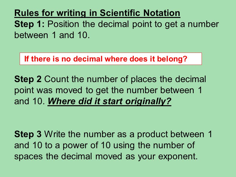 Rules for writing in Scientific Notation