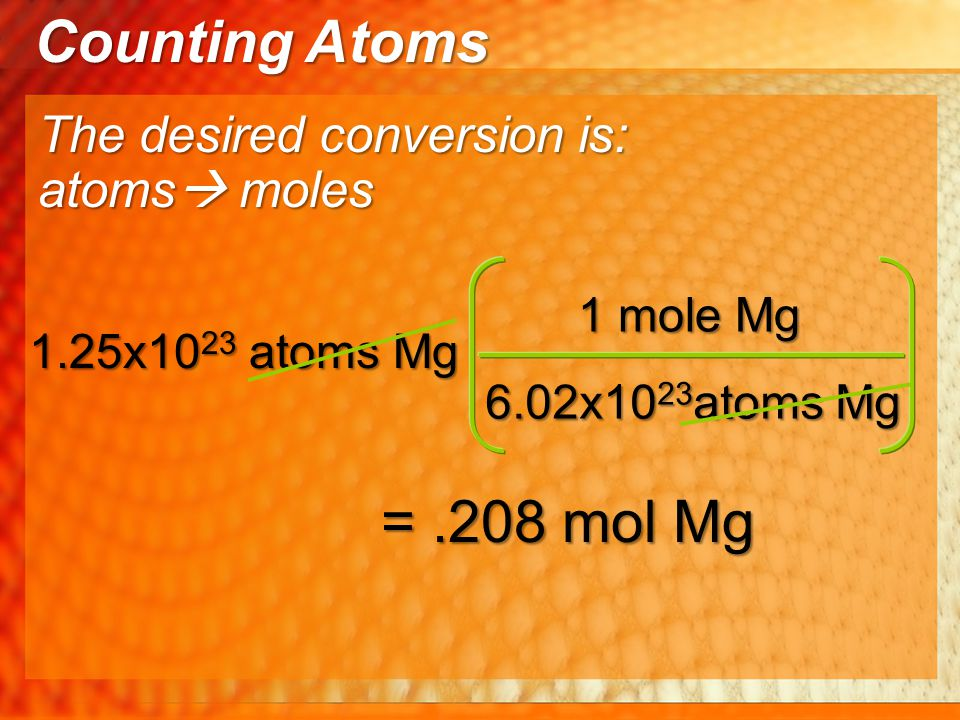 Counting Atoms = .208 mol Mg The desired conversion is: atoms moles