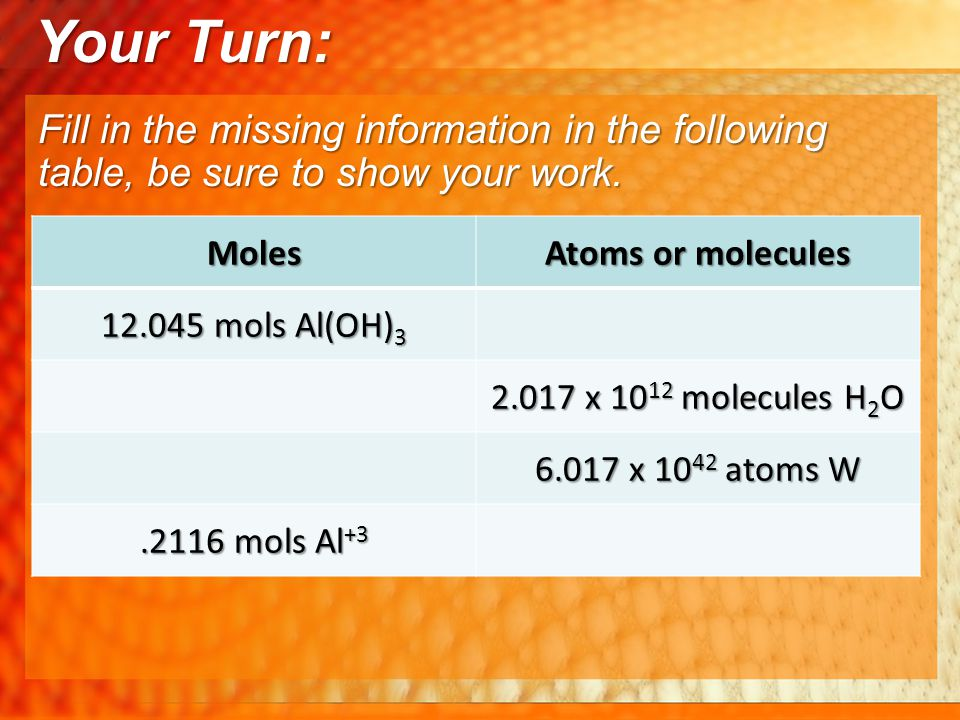 Your Turn: Fill in the missing information in the following table, be sure to show your work. Moles.
