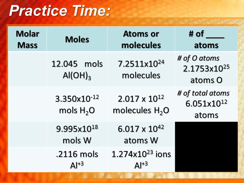 Practice Time: Molar Mass Moles Atoms or molecules # of ____ atoms