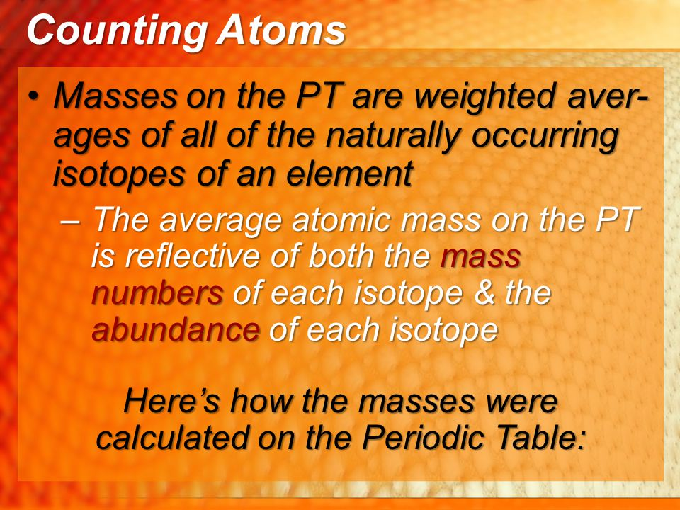 Here's how the masses were calculated on the Periodic Table: