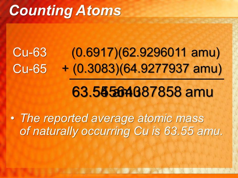 Counting Atoms 63.55 amu 63.54564387858 amu Cu-63